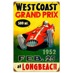 West Coast Grand Prix Vintage Metal Sign