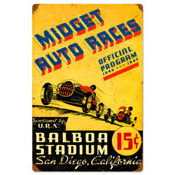 San Diego Midget Races Vintage Metal Sign