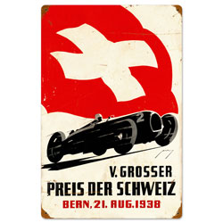 Swiss Car Race Vintage Metal Sign