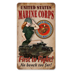 Marine Corps Vintage Metal Sign