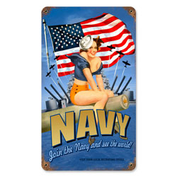 Navy Pinup Vintage Metal Sign