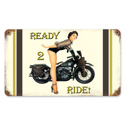 Ready 2 Ride Vintage Metal Sign
