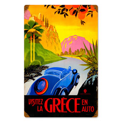 Greece Auto Travel Vintage Metal Sign
