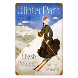 Ski Winter Park Vintage Metal Sign