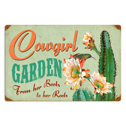 Cowgirl Garden Vintage Metal Sign