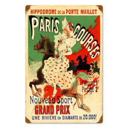 Paris Hippodrome Vintage Metal Sign