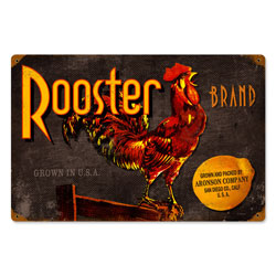 Rooster Brand Vintage Metal Sign