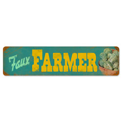 Faux Farmers Vintage Metal Sign