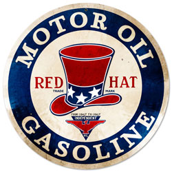 Red Hat Gasoline Vintage Metal Sign