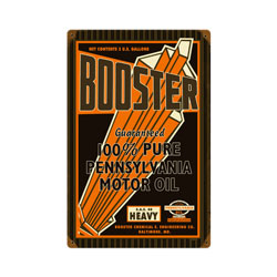 Booster Motor Oil Vintage Metal Sign