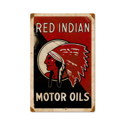 Red Indian Oil Vintage Metal Sign