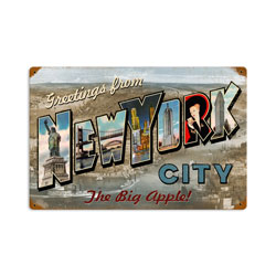 New York Postcard Vintage Metal Sign