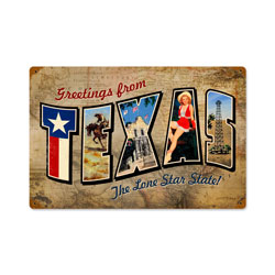 Texas Postcard Vintage Metal Sign