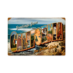 California Postcard Vintage Metal Sign