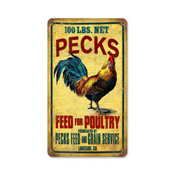 Rooster Feed Vintage Metal Sign