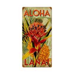 Aloha Pineapple Vintage Metal Sign