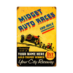 Midget Races Vintage Metal Sign