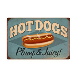 Hot Dogs Vintage Metal Sign