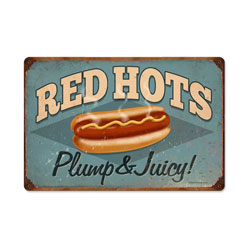 Red Hots Vintage Metal Sign