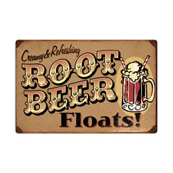 Root Beer Floats Vintage Metal Sign
