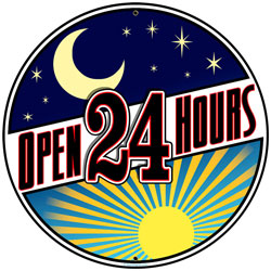 Open 24 Hours Vintage Metal Sign