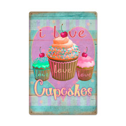 Cupcake Love Vintage Metal Sign
