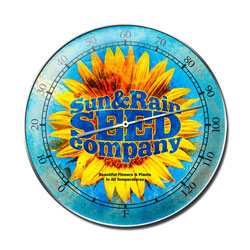 Sun Rain Seed Vintage Metal Sign Thermometer