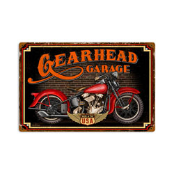 Gear Head Vintage Metal Sign