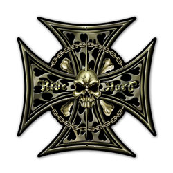 Iron Cross Skull Vintage Metal Sign