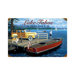 Lake Tahoe Woodies Vintage Metal Sign