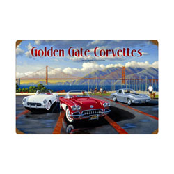 Golden Gate Corvettes Vintage Metal Sign