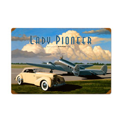 Lady Pioneer Vintage Metal Sign