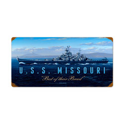 USS Missouri Vintage Metal Sign