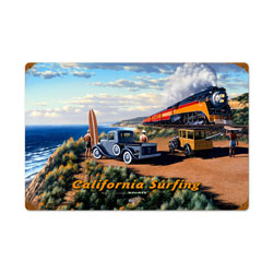 California Surfing Vintage Metal Sign