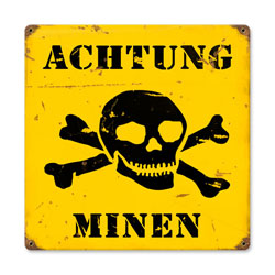 Achtung Minen Vintage Metal Sign