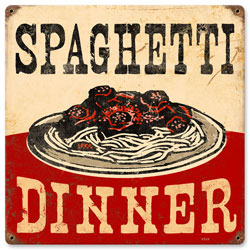 Spaghetti Dinner Vintage Metal Sign