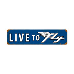 Live To Fly Vintage Metal Sign