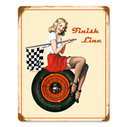 Finish Line Vintage Metal Sign