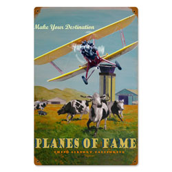 Planes of Fame Vintage Metal Sign