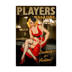 Players Pool Girl Vintage Metal Sign