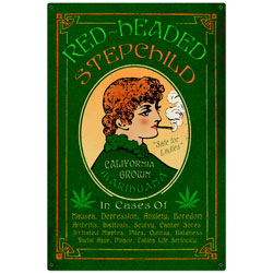 Red Headed Marijuana Vintage Metal Sign