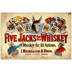 Five Jacks Whiskey Vintage Metal Sign