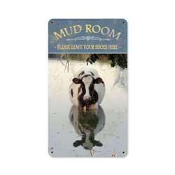 Mud Room Cow Vintage Metal Sign