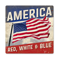 American Flag Red What and Blue Vintage Metal Sign