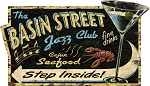 The Basin Street Jazz Club Antiqued Wood Sign