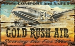 Personalized Gold Rush Air Serving the Far West Antiqued Wood Sign