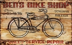 Bens Bike Shop Antiqued Wood Sign