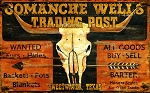 Comanche Wells Trading Post Antiqued Wood Sign