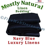 48 Inch Size Navy Blue Bed Linen Sheet Set 300 Thread Count