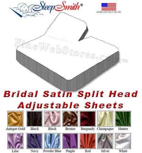 Satin California King Split Head Adjustable Sheets